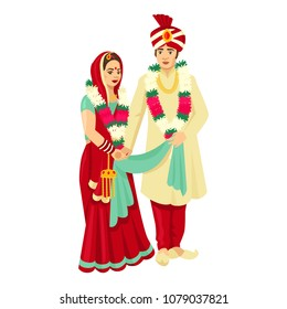 Indian wedding couple in traditional dresses. Vector design for wedding invitation, web design, prints.