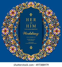 Indian wedding invitation or card with abstract background. Islam, Arabic.