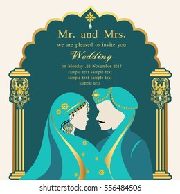 Indian wedding invitation card with abstract background.