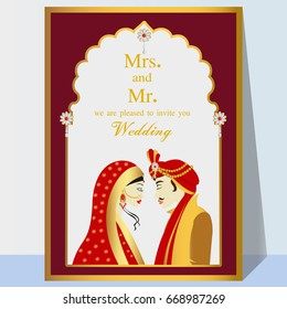 Indian wedding invitation card with abstract background.Perfect cards for any other kind of design