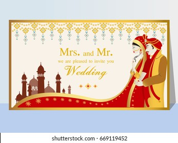 Indian wedding invitation card with abstract background. Template frame. Perfect cards for any other kind of design, birthday and other holiday, medallion, indian, arabic, dubai.