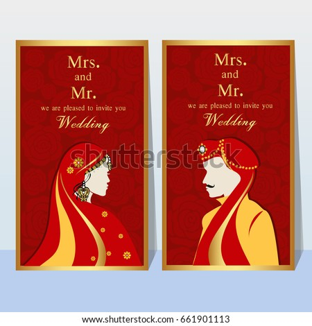 indian wedding invitation card with abstract backgroundtemplate frame perfect cards for any other