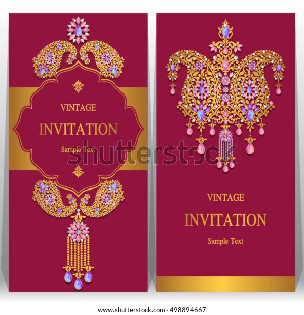Indian Wedding Invitation Card Abstract Background Stock