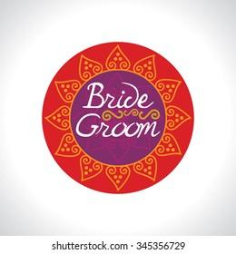 Indian wedding invitation card bride groom logo concept illustration