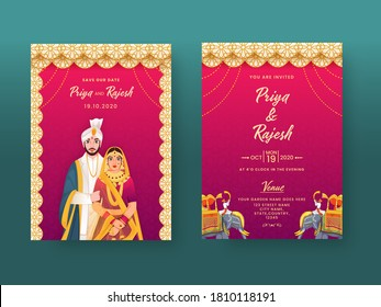 Indian Wedding Invitation Card in Mandala Pattern with Couple Character and Venue Details.