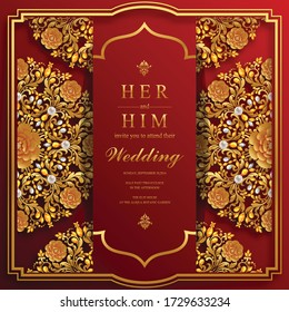 Indian wedding Invitation card templates with Gold color with patterned and crystals on paper color background.