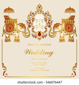 Indian wedding Invitation card templates with gold Elephant patterned and crystals on paper color.