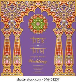Indian Wedding Invitation Card Templates Gold Stock Vector Royalty