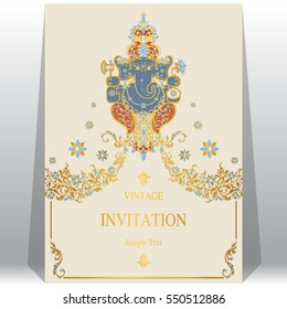 Indian wedding Invitation card templates with gold Lord Ganesha patterned and crystals on paper color.