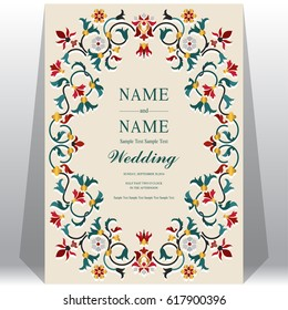 Indian wedding Invitation card templates with Taj Mahal flower patterned.