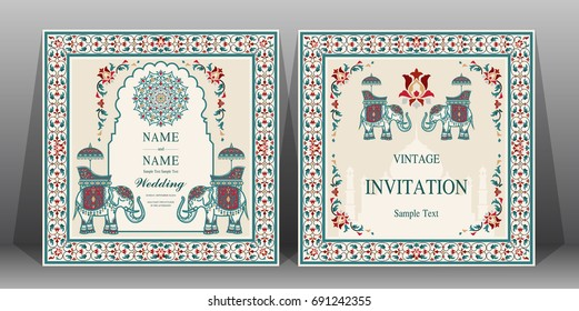Indian wedding Invitation card templates with Taj Mahal, flower, Elephant patterned.