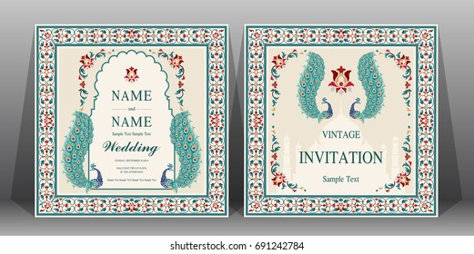 Indian wedding Invitation card templates with flower, peacock patterned.