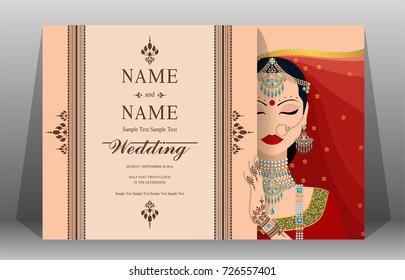 indian wedding invitation card templates women stock vector royalty