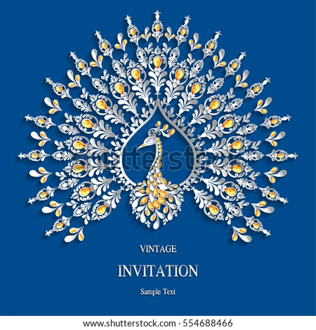 indian wedding invitation card templates peacock stock vector