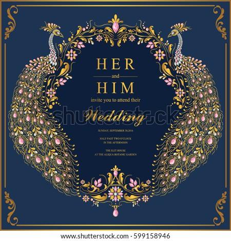 indian wedding invitation card templates gold のベクター画像素材