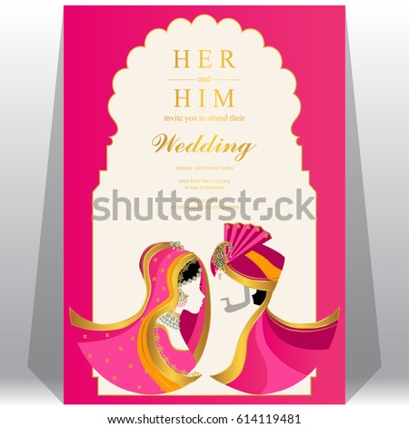 Indian Wedding Invitation Card Templates Patterned Stock Vector