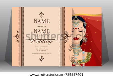 Indian Wedding Invitation Card Templates Women Stock Vector Royalty