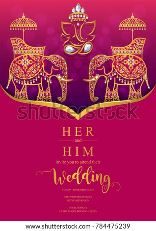 Indian Wedding Invitation Card Templates Gold Stock Vector Royalty