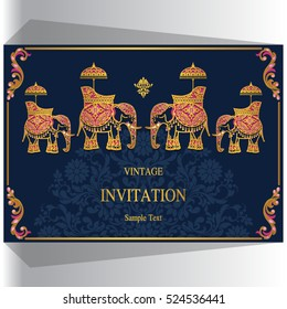 Indian wedding invitation, Elephant patterned gold and crystals color.
