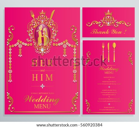 indian wedding menu card templates gold stock vector royalty free