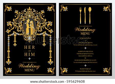 Pink indian elephant printable menu template wedding menu | etsy.