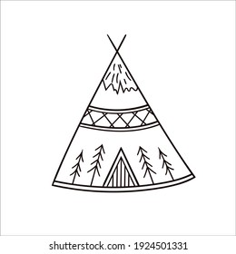 An Indian wigwam. Vector sketch teepee in doodle style. Isolated object on a white background.