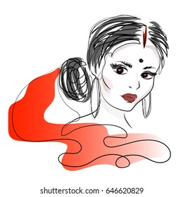 Indian woman. Beautiful attractive indian woman in a red sari. Beauty with brown eyes. Vector drawing.