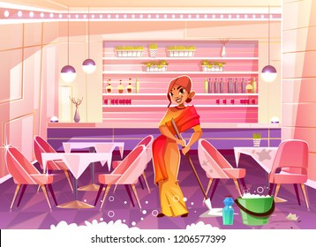 Indian woman character in ethnic clothes, with mop in hands washing floor, cleaning cafe or restaurant hall cartoon vector illustration. Small family business, work for refugees and immigrants concept