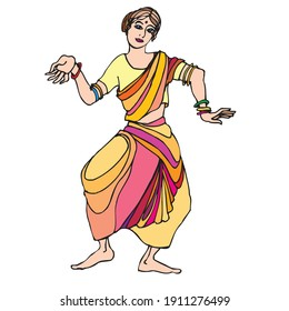Indian woman dancing. Kuchipudi is a dance-drama performance, with its roots in the ancient Hindu Sanskrit text of Natya Shastra.