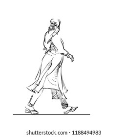 Indian Woman Dressed in a Shalwar Kameez. Girl Wearing in a Traditional Dress. Ethnic Female Costume in India. Vector Illustration. Freehand Drawing. Monochrome Linear Sketch. Realistic Style.