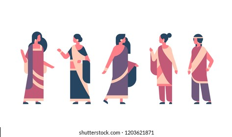 indian woman group wearing national traditional clothes hindu women celebration concept female cartoon character full length isolated horizontal flat vector illustration