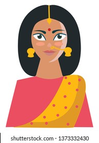An Indian woman in her yellow-colored saree printed with rose polka design and a matching blouse looks beautiful with her accessories like maang tikka earrings bindi and nose rings vector color
