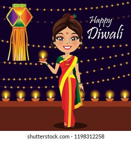 An Indian woman from maharashtra in a traditional nine yard nauvari saree is lighting diyas or lamps to celebrate the festival of lights Diwali or Deepavali with an akash kandil/ lantern at the back