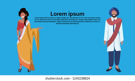 indian woman man couple bindi standing in national traditional clothes. Female and male cartoon character full length.  flat horizontal copy space