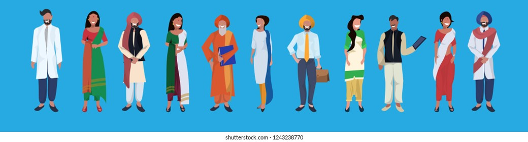 indian woman man standing together national traditional clothes.  Male   and female people group cartoon character collection.  Full length horizontal banner flat