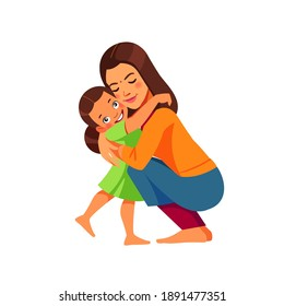 Indian woman Mother and child. Mom hugging her daughter with a lot of love and tenderness. Mother's day, holiday concept. Cartoon flat isolated vector design.