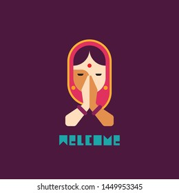 Indian woman Namaste mudra and welcomes you -vector illustration