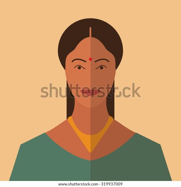 Indian woman portrait, flat icon