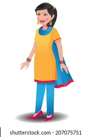 Indian woman in salwar kameez. This is an EPS 10 vector with neatly named layers. Similar images in my portfolio