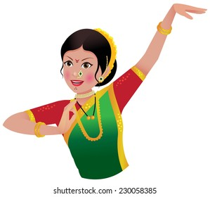 Indian woman from state of Maharashtra dancing