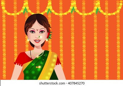 Indian woman from state of Maharashtra in a saree standing in front of a festive Maharashtrian background