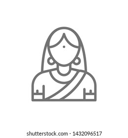 Indian woman in traditional national dress, bride line icon.