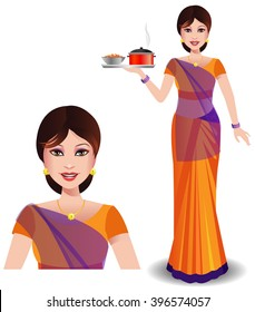 Indian woman in traditional saree bringing delicious food and sweets