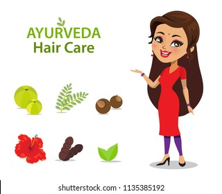An Indian woman wearing a salwar kameez has long and strong thick hair because of ayurvedic care using natural ingredients/ herbs shown