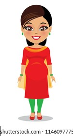 An Indian woman wearing a salwar kameez is pregnant