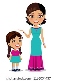 An Indian woman wearing a Salwar kameez dress is standing next to her little daughter