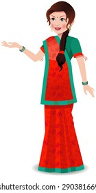Indian woman wearing a saree worn in state of Gujarat