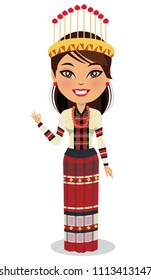 Indian woman wearing a traditional dress from the north east state of Mizoram