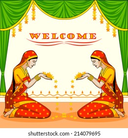 Indian woman welcoming with flower in vector