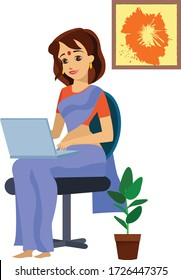 Indian woman working from home. in corona virus pandemic.